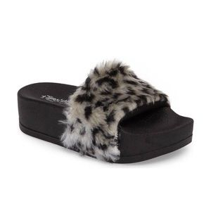 jeffrey campbell lucky me leopard fur slides